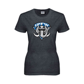 Ladies Dark Heather T Shirt-IPFW Mastodon Shield