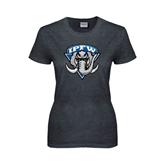 Ladies Dark Heather T Shirt-IPFW Mastodon Shield Distressed