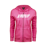 ENZA Ladies Fuchsia Fleece Full Zip Hoodie-IPFW