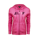 ENZA Ladies Fuchsia Fleece Full Zip Hoodie-IPFW Distressed Foil
