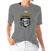 Ladies Under Armour Heather Grey Triblend Tee-Primary Athletic Logo