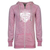 ENZA Ladies Hot Pink Marled Full Zip Hoodie-Primary Athletic Logo