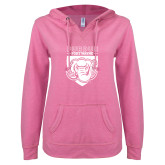ENZA Ladies Hot Pink V Notch Raw Edge Fleece Hoodie-Primary Athletic Logo
