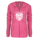ENZA Ladies Hot Pink Light Weight Fleece Full Zip Hoodie-Primary Athletic Logo