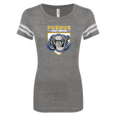 ENZA Ladies Dark Heather/White Vintage Football Tee-Primary Athletic Logo