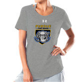 Ladies Under Armour Grey Charged Cotton Tee-Primary Athletic Logo