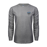 Grey Long Sleeve TShirt-IPFW Mastodon Shield
