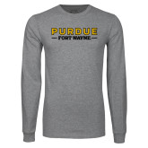 Grey Long Sleeve T Shirt-Athletics Primary Wordmark