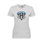 Ladies White T Shirt-IPFW Mastodon Shield