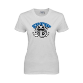 Ladies White T Shirt-Arched IPFW with Mastodon