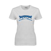 Ladies White T Shirt-Baseball Design