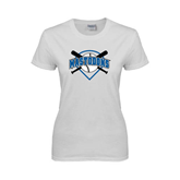 Ladies White T Shirt-Softball Bats and Plate Design