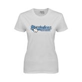 Ladies White T Shirt-Softball Design