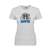 Ladies White T Shirt-Mastodon with IPFW