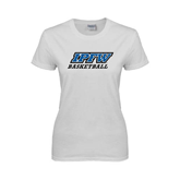 Ladies White T Shirt-Basketball