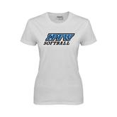 Ladies White T Shirt-Softball