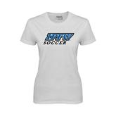 Ladies White T Shirt-Soccer