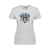 Ladies White T Shirt-IPFW Mastodon Shield Distressed