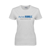 Ladies White T Shirt-Feel The Rumble