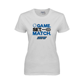 Ladies White T Shirt-Game Set Match Tennis Design