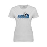 Ladies White T Shirt-Soccer Swoosh Design
