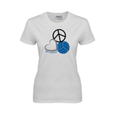 Ladies White T Shirt-Peace, Love, and Volleyball