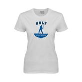 Ladies White T Shirt-Golfer Golf Design