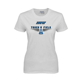Ladies White T Shirt-Track and Field Design