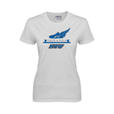 Ladies White T Shirt-Track and Field Side Shoe Design