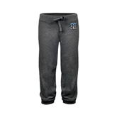 ENZA Ladies Dark Heather Banded Fleece Capri-IPFW Mastodon Shield