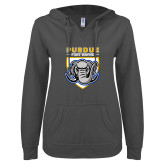 ENZA Ladies Dark Heather V Notch Raw Edge Fleece Hoodie-Primary Athletic Logo