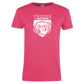 Ladies Fuchsia T Shirt-Primary Athletic Logo
