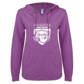 ENZA Ladies Berry V Notch Raw Edge Fleece Hoodie-Primary Athletic Logo
