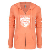 ENZA Ladies Coral Light Weight Fleece Full Zip Hoodie-Primary Athletic Logo