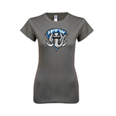 Ladies SoftStyle Junior Fitted Charcoal Tee-IPFW Mastodon Shield