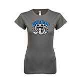 Ladies SoftStyle Junior Fitted Charcoal Tee-Arched IPFW with Mastodon