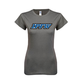Ladies SoftStyle Junior Fitted Charcoal Tee-IPFW