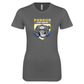 Next Level Ladies SoftStyle Junior Fitted Charcoal Tee-Primary Athletic Logo