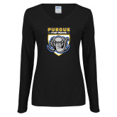 Ladies Black Long Sleeve V Neck Tee-Primary Athletic Logo