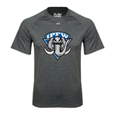 Under Armour Carbon Heather Tech Tee-IPFW Mastodon Shield
