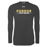 Under Armour Carbon Heather Long Sleeve Tech Tee-Athletics Primary Wordmark