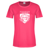 Ladies Performance Hot Pink Tee-Primary Athletic Logo