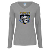 Ladies Grey Long Sleeve V Neck Tee-Primary Athletic Logo
