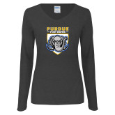 Ladies Dark Heather Long Sleeve V Neck Tee-Primary Athletic Logo