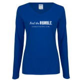 Ladies Royal Long Sleeve V Neck T Shirt-Feel the Rumble