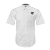 White Twill Button Down Short Sleeve-IPFW Mastodon Shield