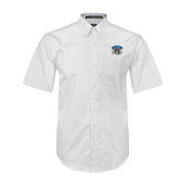 White Twill Button Down Short Sleeve-Arched IPFW with Mastodon