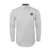 White Twill Button Down Long Sleeve-IPFW Mastodon Shield