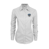 Ladies White Twill Button Down Long Sleeve-IPFW Mastodon Shield