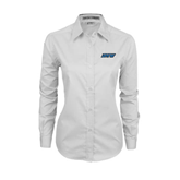 Ladies White Twill Button Down Long Sleeve-IPFW